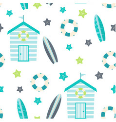 seamless pattern with beach huts nautical print vector image