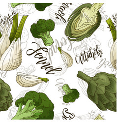seamless pattern with vegetables fennel vector image