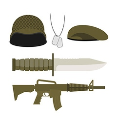 Set Army Military icon Soldiers helmet and badge vector