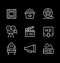set line outline icons movie vector image