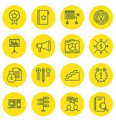set of 16 project management icons includes money vector image