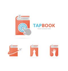 Set of book logo combination novel and cursor vector