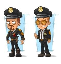 Set of cartoon cops in black uniform vector image