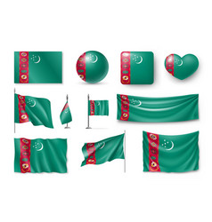 set turkmenistan flags banners banners symbols vector image