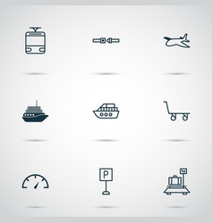 Shipping icons set with roadsign safety belt vector