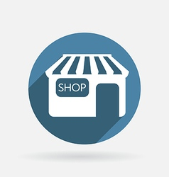 shop building Circle blue icon with shadow vector image