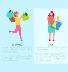 Shopping and sale two posters vector
