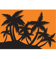 Silhouettes clump of palm trees vector