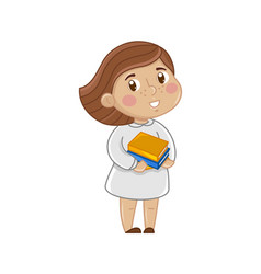 smiling little girl with books vector image