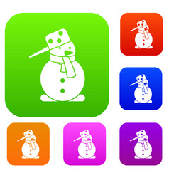 snowman set collection vector image
