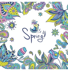 Spring Frame with Ethnic Ornaments vector