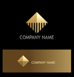 square abstract line gold company logo vector image