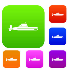 Submarine set collection vector