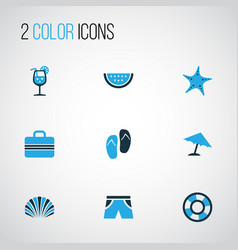 sun colorful icons set collection of fresh juice vector image