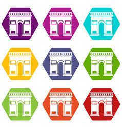Triumphal arch icon set color hexahedron vector