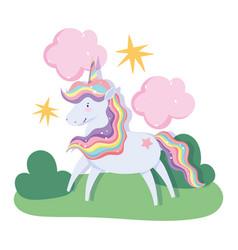 unicorn magic fantasy cartoon rainbow hair horn vector image