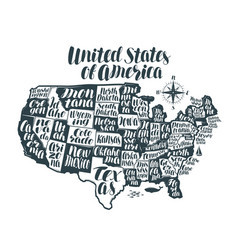 usa map country united states of america vector image