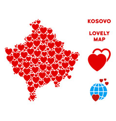 Valentine kosovo map collage of hearts vector