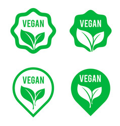 vegan green logo stickers set for vegan product vector image