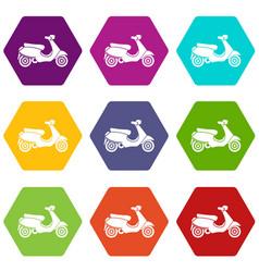 Vespa scooter icon set color hexahedron vector