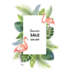 Watercolor summer sale banner tropical vector