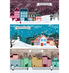 Winter urban landscapes set vector image