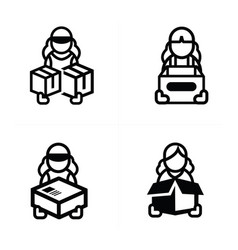 Woman courier icon vector