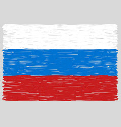 hand drawn russian flag vector image