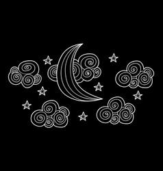 ramadan moon doodle greeting card vector image