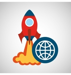 rocket launch start up business globe graphic vector image