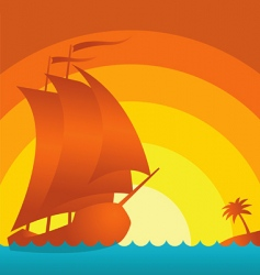 sunset ship vector image vector image