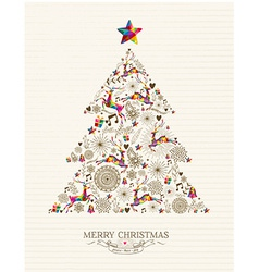 Vintage Christmas tree greeting card vector image vector image