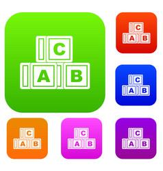 abc cubes set color collection vector image
