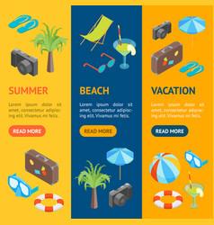 beach summer rest banner vecrtical set isometric vector image