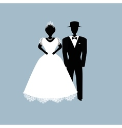 Bride and groom Flat on vector image