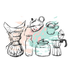 hand drawn graphic realistic set with vector image