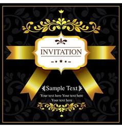 invitation card black and gold style vector image vector image