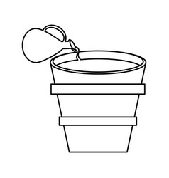 miracle water winr jar and pot wooden outline vector image
