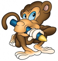 monkey painter vector image