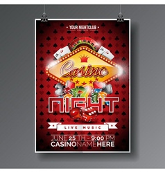Party Flyer design on a Casino theme with chips vector image