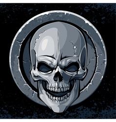 Skull in stone vector image vector image