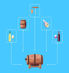 wine barrel and connected icon vector image vector image