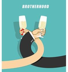 Brotherhood to drink alcohol Man and woman vector image