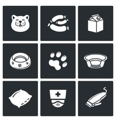 Cat icon set vector image vector image