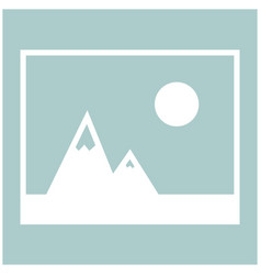 Picture of mountains and sun icon the white color vector