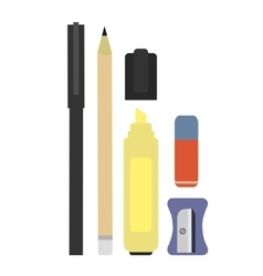 Stationery writing tools set No outline vector image