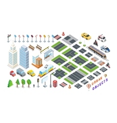 Set of City 3d Elements for Map vector image