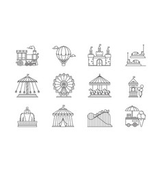set of linear park icons flat elements vector image vector image
