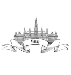 vienna city sign famous landmark building travel vector image vector image