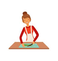 young woman cutting greenery housewife girl vector image